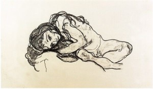 Egon Schiele, nudo femminile accovacciato con testa reclinata
